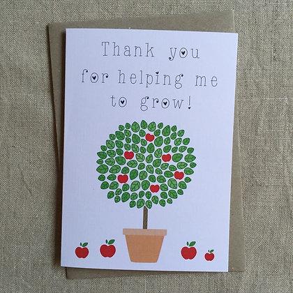 Teacher Thank You Card - Teacher Tree