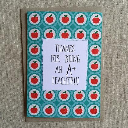 Teacher Thank You Card - A+ Teacher