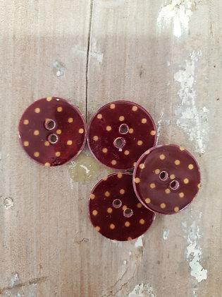 Natural Shell Burgandy/Beige Dot