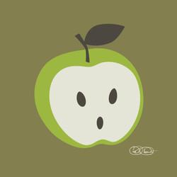 apple head green on brown