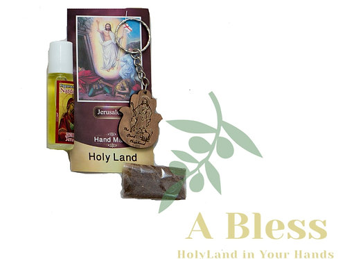 Wood Jesus the Good Shepherd Key Chain with Anointing Oil & Frankincense