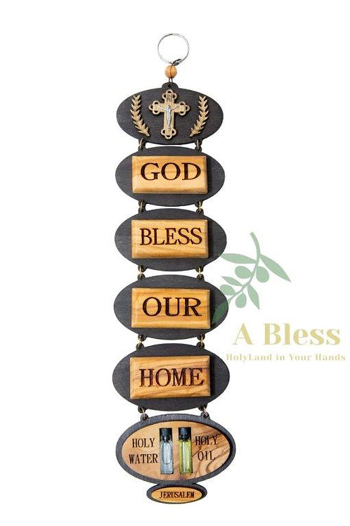 God Bless Our Home Wall Hanging with Holy Water & Oil