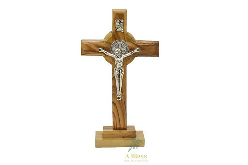 Olive Wood Cross St. Benedict on a Stand with Crucifix