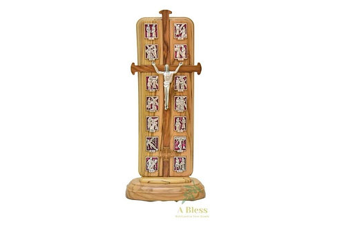 Olive Wood Cross with 14 Stations, Light & Prayer
