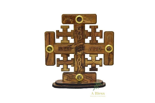 Olive Wood Jerusalem Cross on a Stand