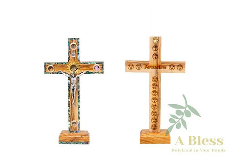Olive Wood Mother of Pearl INRI Crucifix with (5) Holy Incense on a Stand