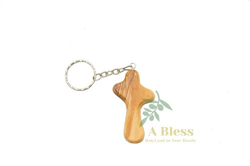 Olive Wood Crucifix Key Chain