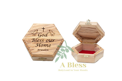 Wooden Jewelry Box engraved on it God Bless our Home