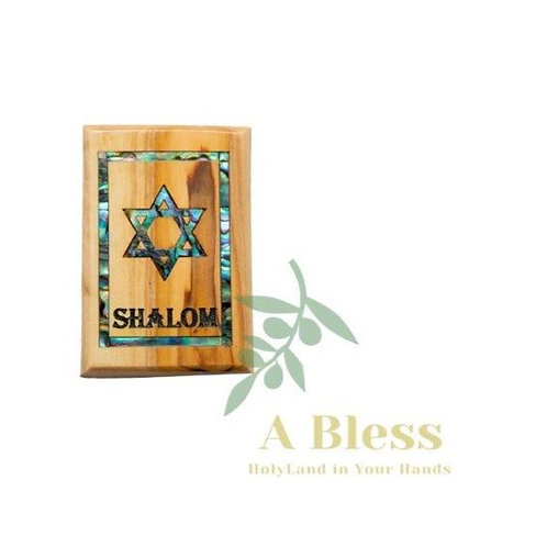 Shalom  Olive Wood & Mother of Pearl  Magnet