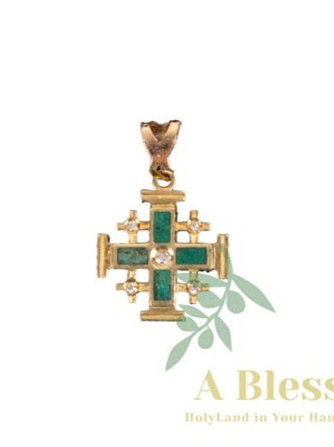 Jerusalem Cross with Eilat Stone Pendant