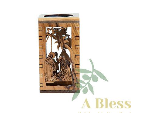 Olive Wood Candle Holder