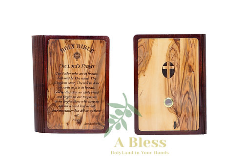 Big Bible with Wooden Cover carved on it the Lord's Prayer