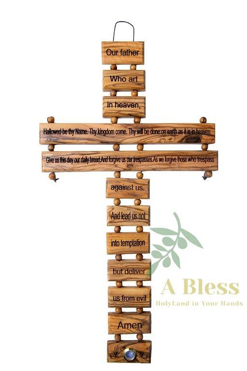 Olive Wood Cross with the Lord's Prayer