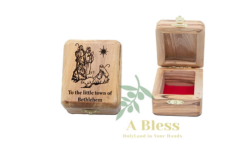 Wooden Jewelry Box engraved on The Shepherds of Bethlehem