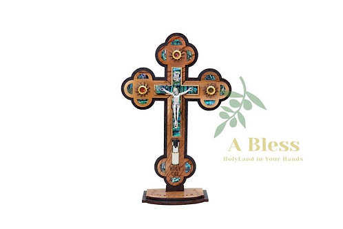 Olive Wood Mother of Pearl INRI Crucifix with (3) Holy Incenses & Holy Water