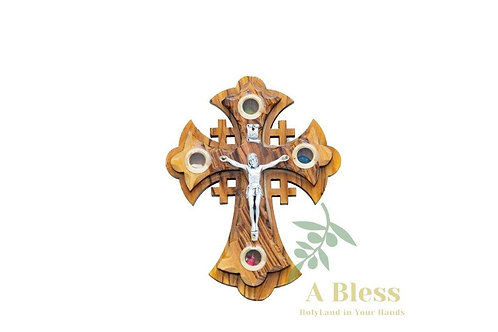 Olive Wood Jerusalem Cross with (4) Holy Land Incense