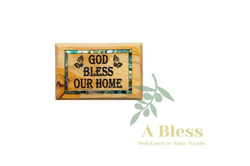 God Bless our Home Olive Wood & Mother of Pearl Magnet