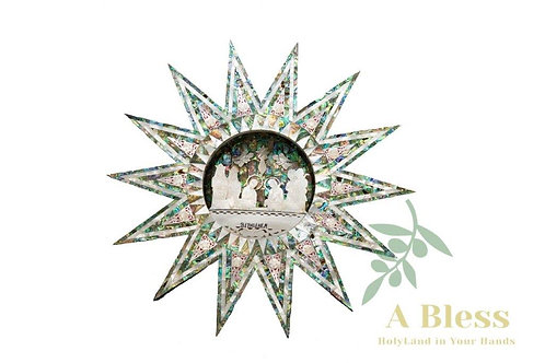 Mother of Pearl Nativity Scene Wall Hanging