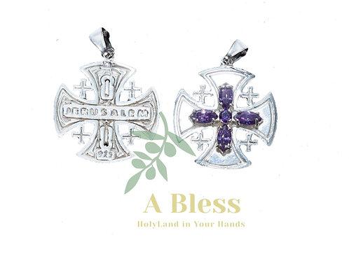 Amethyst Cubic Zirconia Jerusalem Cross