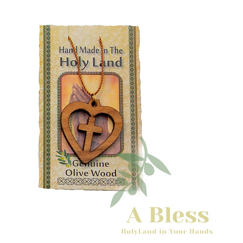 Olive wood Cross with Heart Necklace