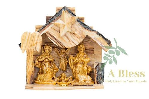 Olive Wood Nativity Set with Music Box