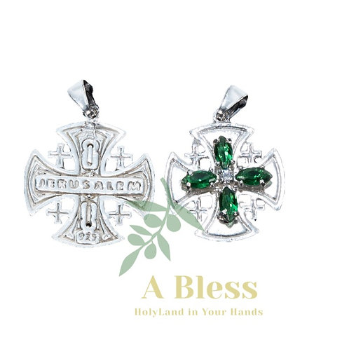 Emerald Cubic Zirconia Jerusalem Cross