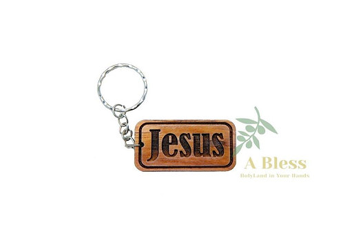 Olive Wood Jesus Key Chain