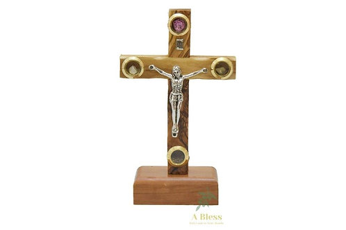 Olive Wood Cross on a Stand with Holy Items