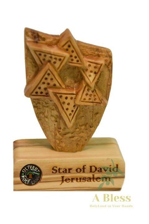Olive Wood Star of David Shield