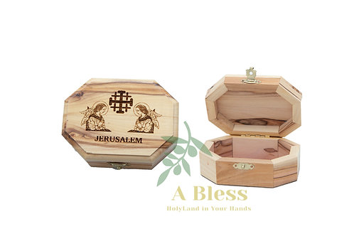 Wooden Jewelry Box engraved on Jerusalem cross with Two Angels