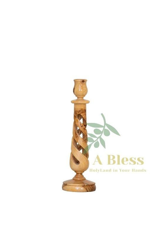 Olive Wood Candle Holder Hollow Twist