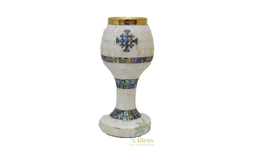 Mother of Pearl Chalice with Jerusalem Cross