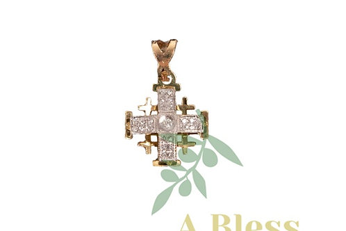 RoundedJerusalem Cross with Small Diamond Cross in the Middle
