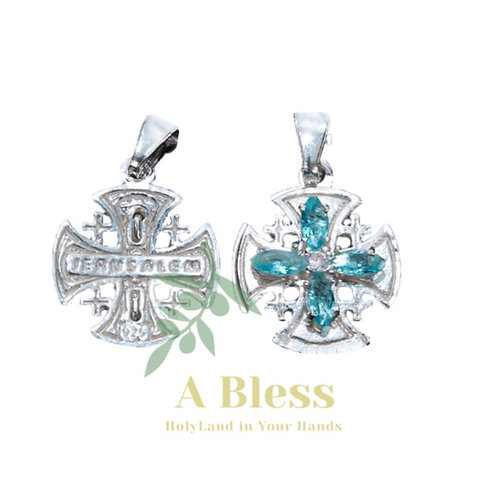 Aqua Cubic Zirconia Jerusalem Cross