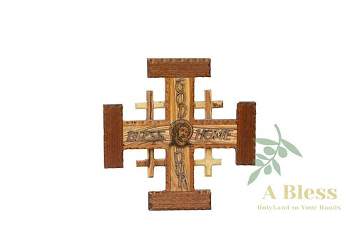 Olive Wood Jerusalem Cross
