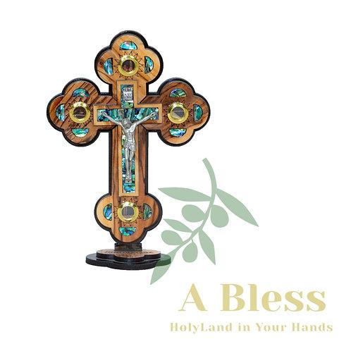 Olive Wood Cross with Holy Land Essences