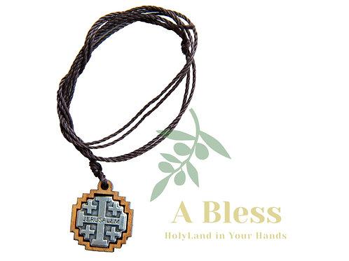 Olive Wood Jerusalem Cross Pendant