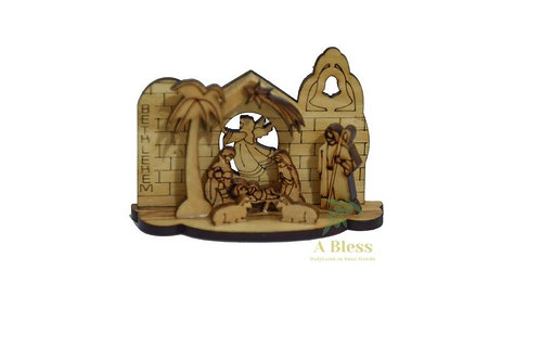 Olive Wood Nativity Set Laser in Red Box