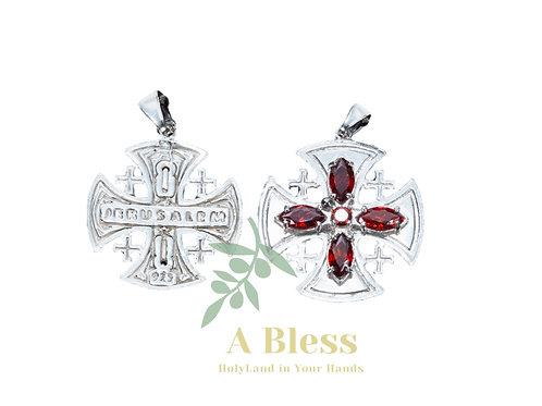 Ruby Cubic Zirconia Jerusalem Cross