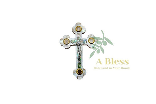 White Mother of Pearl Cross with (4) Holy Incense