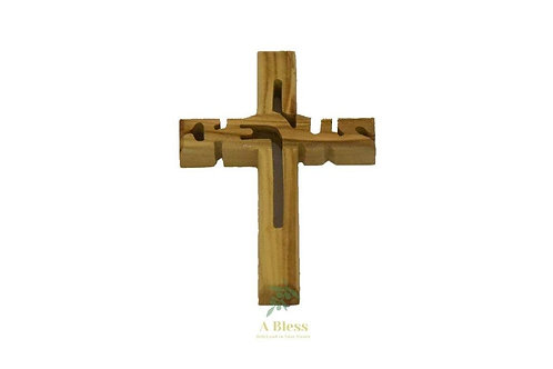 Olive Wood Jesus Name Cross