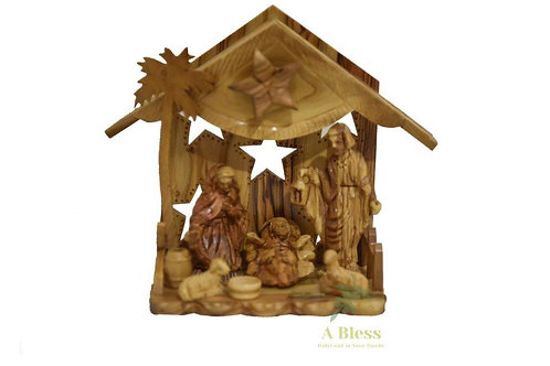 Olive Wood Nativity Musical Crib -Zacharia