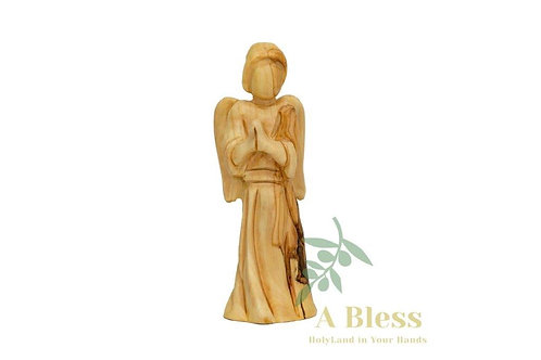 Hand Carved Wooden Praying Angel