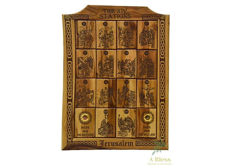 Olive Wood 14 Stations Wall Hanging Plaque with Holy Incense