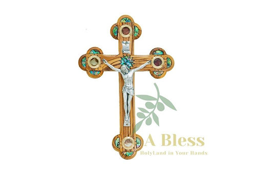 Olive Wood Mother of Pearl INRI Crucifix with (4) Holy Incense