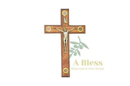 Olive Wood Crucifix with (4) Holy Incense