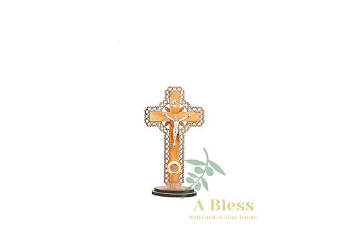 Olive Wood Cross with Holy Incense on a Stand
