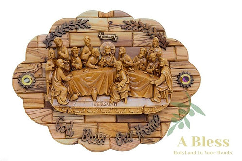 Last Supper with Good Bless our Home - Wall Hanging Plaque w/ Holy Land Incense