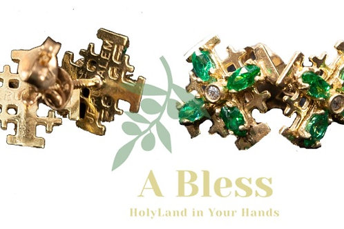 Jerusalem Cross Earrings  with Emerald and White  Cubic Zirconia