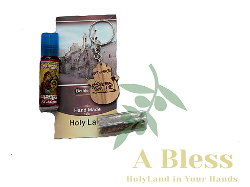 Wood Grotto of Bethlehem Key  Chain with Anointing Oil & Frankincense